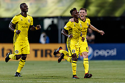 September 1, 2018 - Columbus, OH, U.S. - COLUMBUS, OH - SEPTEMBER 01: Harrison Afful (25) of Columbus Crew SC celebrates with teammates after scoring a goal in the MLS regular season game between the Columbus Crew SC and the New York City FC on September 01, 2018 at Mapfre Stadium in Columbus, OH. The Crew won 2-1. (Photo by Adam Lacy/Icon Sportswire) (Credit Image: © Adam Lacy/Icon SMI via ZUMA Press)