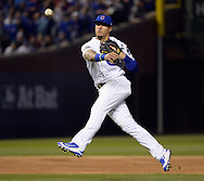 CHICAGO, IL - OCTOBER 22: Javier Baez #9 of the Chicago Cubs turns a double play in the first inning during Game 6 of the NLCS against the Los Angeles Dodgers at Wrigley Field on Saturday, October 22, 2016 in Chicago, Illinois. (Photo by Ron Vesely/MLB Photos via Getty Images)  *** Local Caption *** Javier Baez