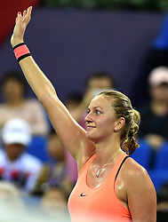 ZHUHAI, Nov. 5, 2016  Petra Kvitova of the Czech Republic gestures after the women's singles semifinal against Zhang Shuai of China at the WTA Elite Trophy tournament in Zhuhai, south China's Guangdong Province,on Nov. 5, 2016. Kvitova won 2-0. (Credit Image: © Lu Hanxin/Xinhua via ZUMA Wire)