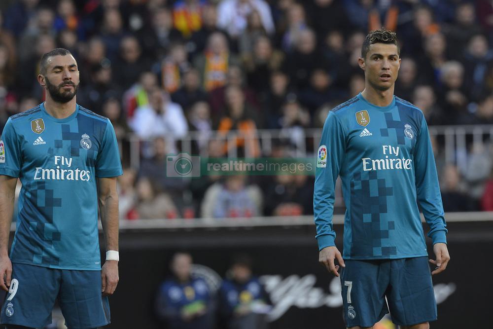 January 27, 2018 - Valencia, Spain - Cristiano Ronaldo, Benzema during the match between Valencia CF against Real Madrd, week 21 of La Liga 2017/187 at Mestala stadium, Valencia, SPAIN - 27th January of 2018. (Credit Image: © Jose Breton/NurPhoto via ZUMA Press)