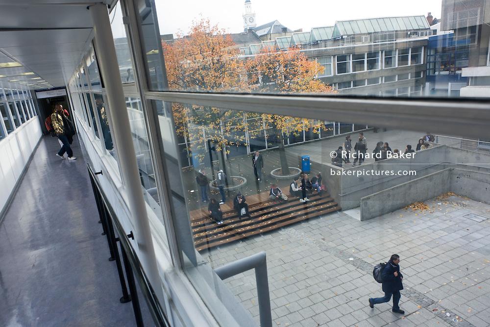 Modern walkway at London Metropolitan University's Holloway Road campus.