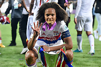 Wendie Renard†(captain) of Olympique Lyon celebrates with the trophy during the UEFA Women's Champions League Final between Lyon Women and Paris Saint Germain Women at the Cardiff City Stadium, Cardiff, Wales on 1 June 2017. Photo by Giuseppe Maffia.<br /> <br /> Giuseppe Maffia/UK Sports Pics Ltd/Alterphotos