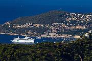 The artistic village Eze looking down on a cruise ship at Saint-Jean-Cap-Ferrat.