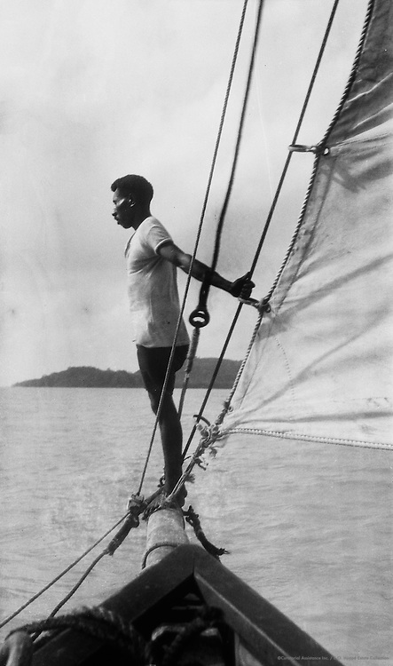 The look-out man, an aboriginal, on board a Pearling lugger, off Thursday Island, Australia, 1930