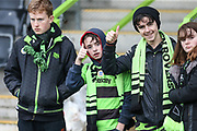 FGR supporters during the EFL Sky Bet League 2 match between Forest Green Rovers and Plymouth Argyle at the New Lawn, Forest Green, United Kingdom on 16 November 2019.
