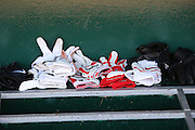 ANAHEIM, CA - AUGUST 24:  Batting gloves are piled up in the dugout and ready for action at the Los Angeles Angels of Anaheim game against the Minnesota Twins at Angel Stadium on August 24, 2008 in Anaheim, California. The Angels defeated the Twins 5-3. ©Paul Anthony Spinelli