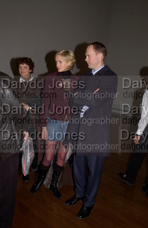 Harry and Bodil Blain. Ron Mueck, Making sculpture at the National Gallery. Private view hosted by the National Gallery and Art Review. 18 March 2003. © Copyright Photograph by Dafydd Jones 66 Stockwell Park Rd. London SW9 0DA Tel 020 7733 0108 www.dafjones.com