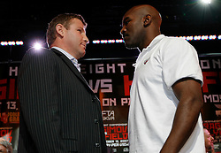 August 30, 2007; New York, NY, USA; WBO Heavyweight Champion Sultan Ibragimov (l) and challenger Evander Holyfield (r) pose during the final press conference for their upcoming fight.  The two will meet on Saturday, October 13th, at the Khodynka Ice Palace in Moscow, Russia.