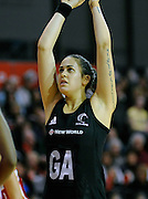 Paula Griffin shoots, during New World Netball Series, New Zealand Silver Ferns v England at The ILT Velodrome, Invercargill, New Zealand. Thursday 6 October 2011 . Photo: Richard Hood photosport.co.nz
