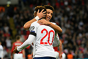 Callum Hudson-Odoi of England and Jadon Sancho of England hug at full time after England won 5-0 during the UEFA European 2020 Qualifier match between England and Czech Republic at Wembley Stadium, London, England on 22 March 2019.