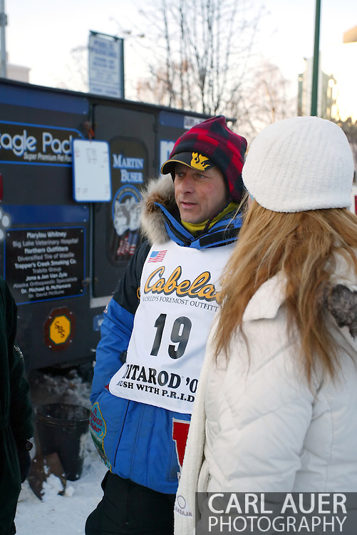 3/3/2007:  Anchorage Alaska -  Veteran Martin Buser of Big Lake, AK talks to fans before the Ceremonial Start of the 35th Iditarod Sled Dog Race