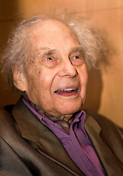 Famed choreographer Merce Cunningham attends a panel discussion on the Stanford University campus March  8, 2005. The event was part of Encounter:Merce, Stanford' s campus-wide interdisciplinary exploration through the arts, focusing on the life and art of Merce Cunningham, legendary choreographer, dance innovator, and artistic thinker.  Photo by Kim Kulish