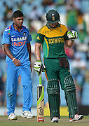 PRETORIA, South Africa, 11 December 2013. AB de Villiers of South Africa celebrates his 100 during the 3rd ODI Cricket match between South Africa and India at Super Sport Park in Centurion Pretoria, South Africa on Wednesday 11 December 2013.<br /> Photographer : Anton de Villiers / SASPA