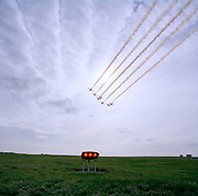 Red Hawk jets of the 'Red Arrows', Britain's Royal Air Force aerobatic team perform during winter training at RAF Scampton home.
