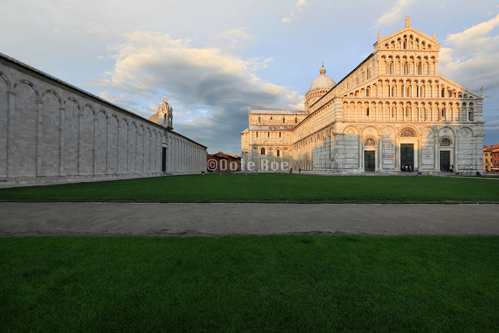 Pisa Piazza dei Miracoli with the cathedral at sunset