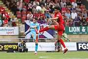 Sean Long and Lee Angol   during the EFL Sky Bet League 2 match between Leyton Orient and Cheltenham Town at the Matchroom Stadium, London, England on 3 August 2019.