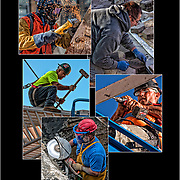Montage of 5 Blue Collar Union Workers<br />