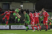 Forest Green Rovers Liam Kitching(20) heads the ball during the EFL Sky Bet League 2 match between Forest Green Rovers and Scunthorpe United at the New Lawn, Forest Green, United Kingdom on 7 December 2019.