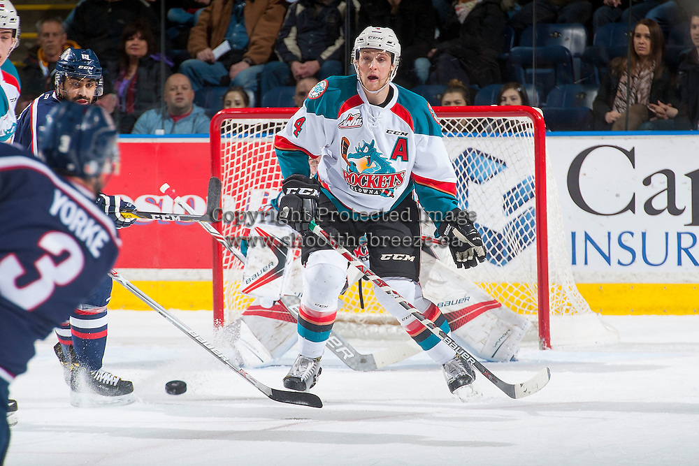 KELOWNA, CANADA - MARCH 4: Gordie Ballhorn #4 of the Kelowna Rockets prepares to block a shot against the Tri-City Americans on March 4, 2017 at Prospera Place in Kelowna, British Columbia, Canada.  (Photo by Marissa Baecker/Shoot the Breeze)  *** Local Caption ***