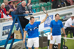 LIVERPOOL, ENGLAND - Thursday, June 21, 2012: Richard Krajicek (NED) and Greg Rusedski (GRB) during the opening day of the Medicash Liverpool International Tennis Tournament at Calderstones Park. (Pic by David Rawcliffe/Propaganda)