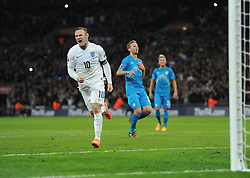Wayne Rooney of England (Manchester United) celebrates. - Photo mandatory by-line: Alex James/JMP - Mobile: 07966 386802 - 15/11/2014 - SPORT - Football - London - Wembley - England v Slovenia - EURO 2016 Qualifier