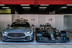 May 9, 2019 - Barcelona, BARCELONA, SPAIN - BARCELONA, CATALONIA, SPAIN 9 of May. FIA seafty car and Lewis Hamilton Car in the box (Credit Image: © AFP7 via ZUMA Wire)