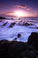 Shorline and crashing waves at Oneloa Bay in Kapalua, Maui, Hawaoo