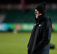 Ospreys' Head Coach Steve Tandy during the pre match warm up<br /> <br /> Photographer Simon King/Replay Images<br /> <br /> Guinness Pro14 Round 12 - Dragons v Cardiff Blues - Sunday 31st December 2017 - Rodney Parade - Newport<br /> <br /> World Copyright © 2017 Replay Images. All rights reserved. info@replayimages.co.uk - http://replayimages.co.uk