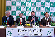 (L-R) Franjo Lukovic &amp; Andrew Jarrett - ITF referee supervisor &amp; Janusz Samel &amp; Krzysztof Suski - president of Polish Tennis Association while official draw at Regent Hotel one day before the BNP Paribas Davis Cup 2014 between Poland and Croatia at Torwar Hall in Warsaw on April 3, 2014.<br /> <br /> Poland, Warsaw, April 3, 2014<br /> <br /> Picture also available in RAW (NEF) or TIFF format on special request.<br /> <br /> For editorial use only. Any commercial or promotional use requires permission.<br /> <br /> Mandatory credit:<br /> Photo by &copy; Adam Nurkiewicz / Mediasport
