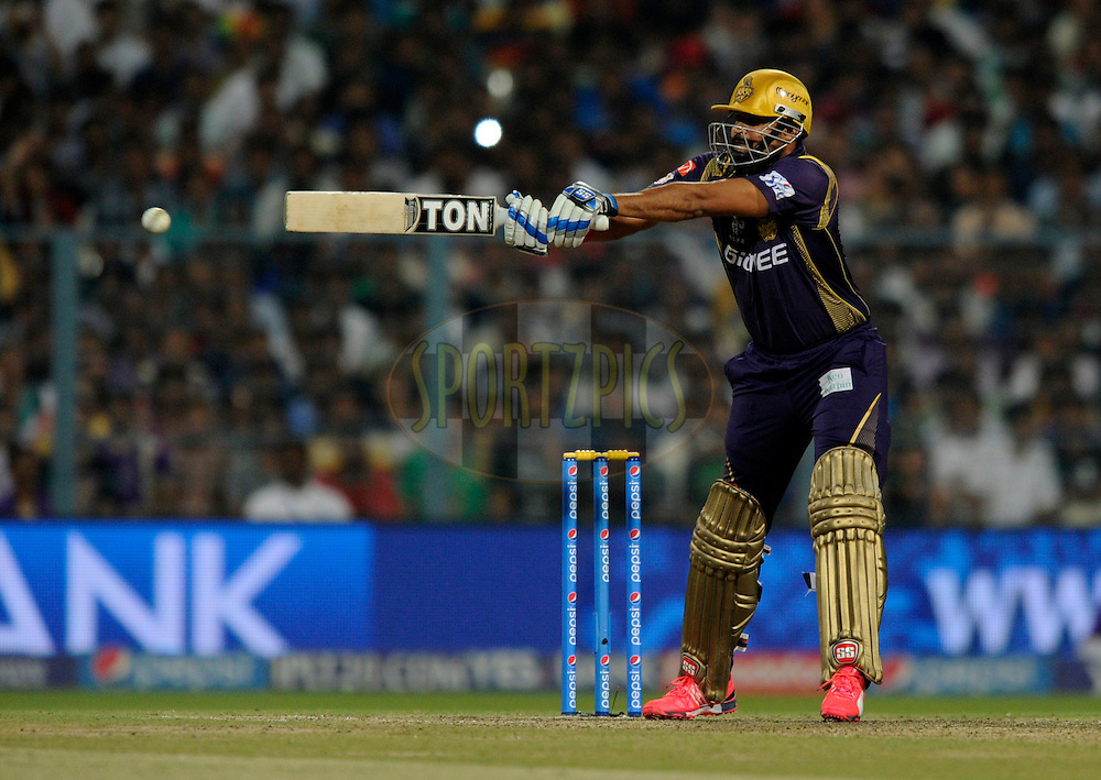 Yusuf Pathan of Kolkata Knight Riders bats during match 38 of the Pepsi IPL 2015 (Indian Premier League) between The Kolkata Knight Riders and The Sunrisers Hyderabad held at Eden Gardens Stadium in Kolkata, India on the 4th May 2015.<br /> <br /> Photo by:  Pal Pillai / SPORTZPICS / IPL