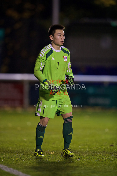 BANGOR, WALES - Tuesday, November 15, 2016: Luxembourg's goalkeeper Bobby Jiang in action against Wales during the UEFA European Under-19 Championship Qualifying Round Group 6 match at the Nantporth Stadium. (Pic by David Rawcliffe/Propaganda)