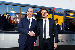 Italian Minister of Infrastructures and Transports Danilo Toninelli is given a tour at the launch of the Rock train as Hitachi Rail exhibit at InnoTrans 2018 - Rogan/JMP - 18/09/2018 - PR - Messe Berlin - Berlin, Germany.