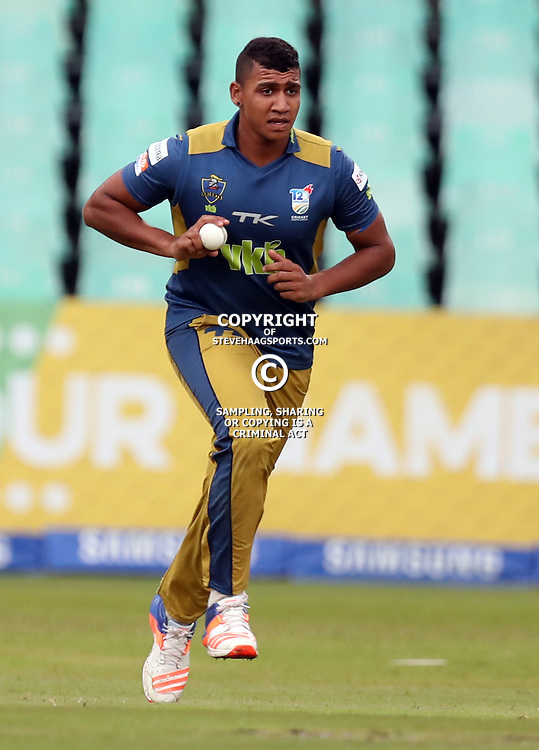 Patrick Kruger of the VKB Knights during the T20 Challenge cricket match between the Hollywoodbets Dolphins and VKB Knights  at the Kingsmead stadium in Durban, KwaZulu Natal, South Africa on the 11 Dec 2016<br /> <br /> Photo by:   Steve Haag / Real Time Images