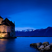 Chillon castle (Château de Chillon) in the Leman lake near Montreux (Swiss)