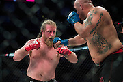Houston, Texas - February 19, 2016:  Justin Wren fights against Juan Torres during Bellator 149 at the Toyota Center in Houston, Texas on February 19, 2016. (Cooper Neill for ESPN)