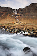 A small waterfall near the Lómagnúpur mountain in south-eastern Iceland