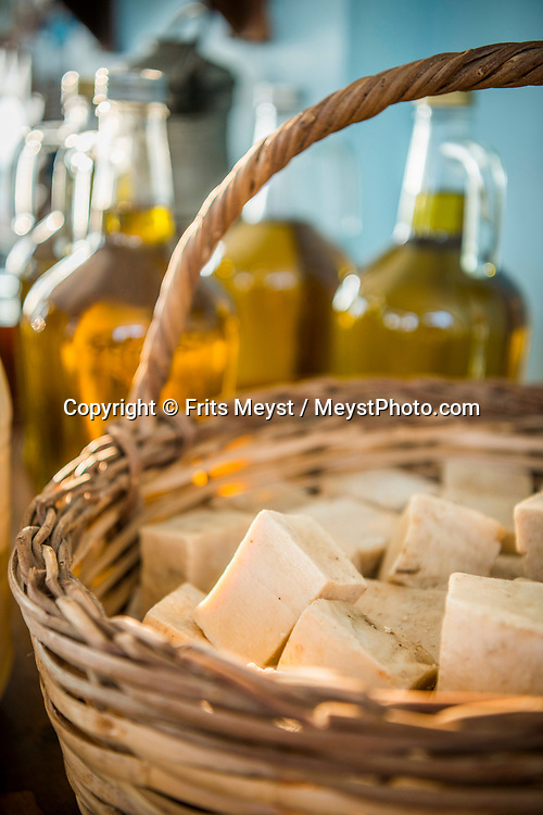 Heracleia, Kapikiri, Bafa Golu, Turkey, April 2017.  Olive oil and olive soap. Lake Bafa or Lake Bafa Nature Park is a lake and a nature reserve situated in southwestern Turkey, part of it within the boundaries of Milas district of Muğla Province and the northern part within Aydın Province's Söke district. With its many small bays along the rugged  mediterranean coast, and a great safety standard, Turkey is well suited for camper tourism. Photo by Frits Meyst / MeystPhoto.com