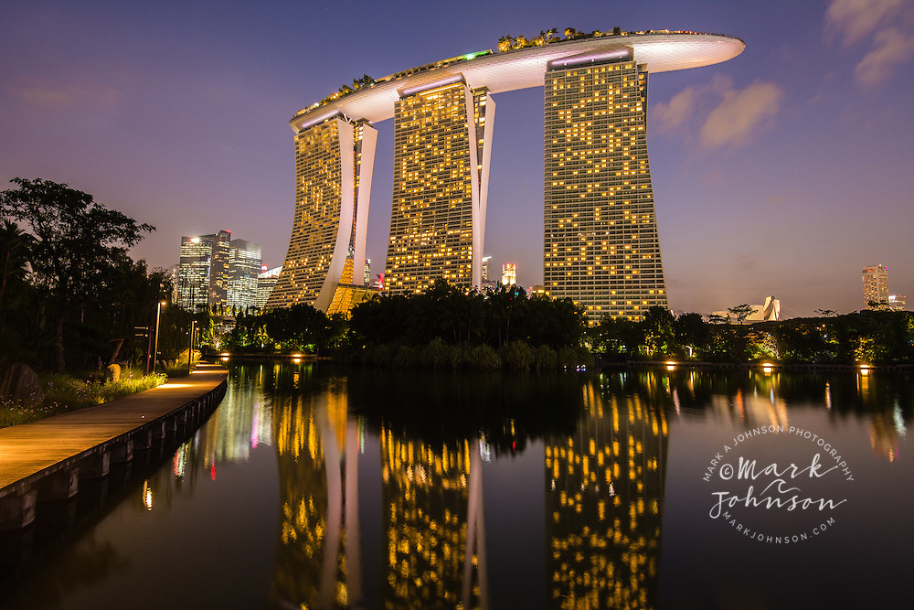 The Marina Bay Sands Hotel reflected in Dragonfly Lake, Gardens by the Bay