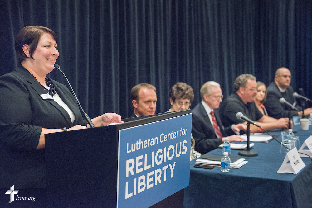 Martha Mitkos, director, campaigns and special initiatives for The Lutheran Church–Missouri Synod, curates a panel discussion during the Let's Talk Life, Marriage and Religious Liberty event on Wednesday, Sept. 9, 2015, in Washington, D.C. LCMS Communications/Erik M. Lunsford