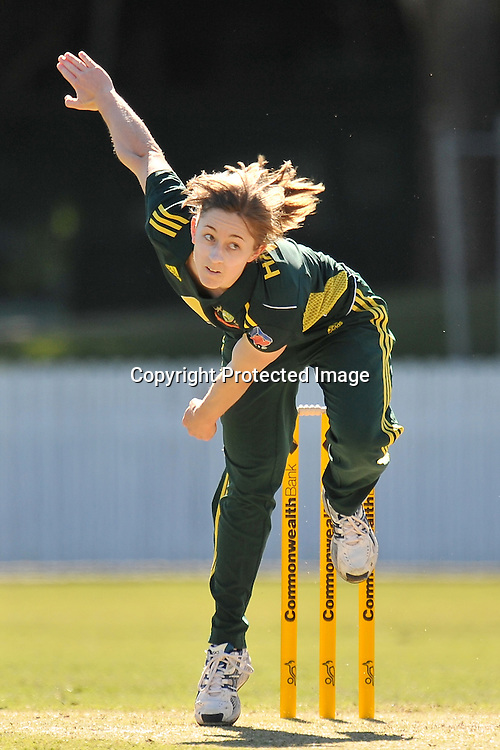 Rachael Haynes follows through while bowling for the Southern Stars during action in Game 6 (ODI) of the Rose Bowl Trophy Cricket played between Australia and New Zealand at Alan Border Field in Brisbane (Australia) ~ Monday 14May 2011 ~ Photo : Steven Hight (AURA Images) / Photosport