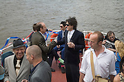 PAUL SIMONON, DINOS CHAPMAN, TIM NOBLE, STEPHEN WEBSTER, JOHNNY SHAND KYDD AND MICHAEL WOJAS. AMONGST GUESTS. Marriage of Tim Nobkle and Sue Webster conducted by Tracey Emin. Queen Elizabeth. Thames. London. 7 June 2008 *** Local Caption *** -DO NOT ARCHIVE-© Copyright Photograph by Dafydd Jones. 248 Clapham Rd. London SW9 0PZ. Tel 0207 820 0771. www.dafjones.com.