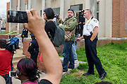 Baltimore, Maryland - April 20, 2015: Demonstrators gathered outside the Western District Police Station in Baltimore Monday to protest the death of Freddie Gray.<br /> <br /> <br /> CREDIT: Matt Roth for The New York Times<br /> Assignment ID: 30173608A