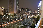 night view of Tokyo's office buildings near Shinagawa station Tokyo