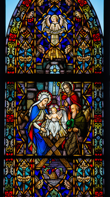 Stained glass window at Holy Family Church in Brillion, Wis. Nativity of the Lord. (Sam Lucero photo)