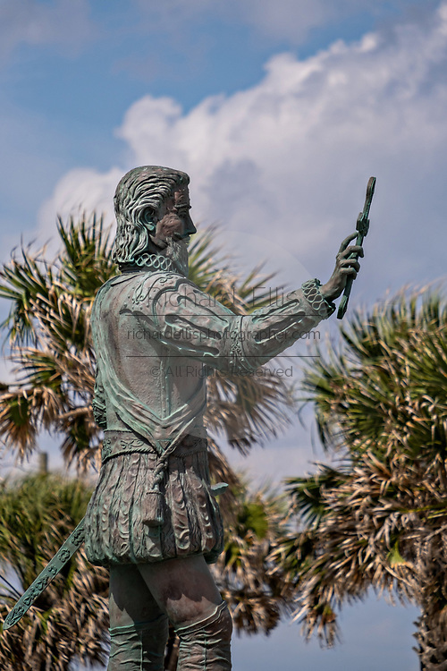 Statue of Juan Ponce de Leon, the discoverer of Florida by artist Rafael Picon in Melbourne Beach, Florida. Ponce de Leon landed near this site in 1513 and claimed Florida for the Spanish Empire.