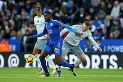 Wilfred Ndidi of Leicester City goes past Wayne Rooney of Everton - Mandatory by-line: Robbie Stephenson/JMP - 29/10/2017 - FOOTBALL - King Power Stadium - Leicester, England - Leicester City v Everton - Premier League