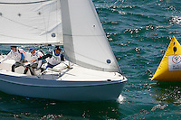 1 August 2015: Special Olympic World Games Los Angeles Sailing Finals in Long Beach, California.  Team Greece #50 Nikitas Geramanis, #51 Loannis Stratigopoulos and Unified Partner #70 Konstantinos Asvestaris race in Cal 20's while rounding a buoy and head to their next mark on the final day of racing in the pacific ocean.