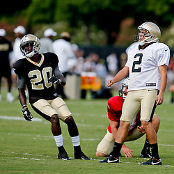 Aug 3, 2013; Metairie, LA, USA; New Orleans Saints kicker Jose Carlos Maltos (2) during a scrimmage at the team training facility. Mandatory Credit: Derick E. Hingle-USA TODAY Sports