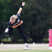 Kate Pulford bowling during the match between England and New Zealand in the Super 6 stage of the ICC Women's World Cup Cricket match at Bankstown Oval, Sydney, Australia on March 14 2009, England won the match by 31 runs. Photo Tim Clayton