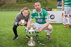 RHOSYMEDRE, WALES - Sunday, May 5, 2019: The New Saints Jon Routledge celebrates with the trophy after the FAW JD Welsh Cup Final between Connah's Quay Nomads and The New Saints at The Rock. The New Saints won 3-0. (Pic by David Rawcliffe/Propaganda)